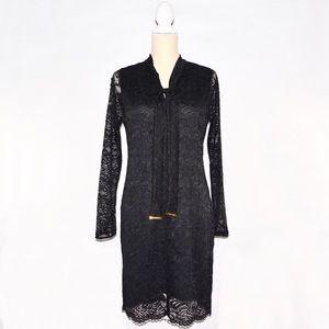 Michael Kors Lace Sheath Black Long Sleeves Dress